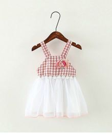 Pikaboo Strappy Gingham Frock - Red
