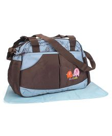 Mother Bag With Changing Mat Elephant Embroidery - Coffee Brown & Sky Blue