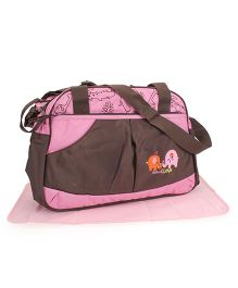 Mother Bag With Changing Mat Elephant Embroidery - Coffee Brown & Pink