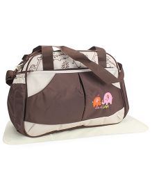 Mother Bag With Changing Mat Elephant Embroidery - Coffee Brown & Cream