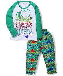 Fido Full Sleeves Heart Print T-Shirt And Pajama Set - Green & White