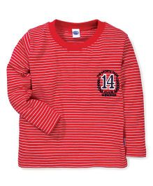 Teddy Full Sleeves The Sports Team Print Stripes T-Shirt - Red