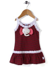 Teddy Singlet Frock Horizontal Stripes - Black And Red