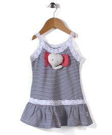 Teddy Singlet Frock Horizontal Stripes - Black And White