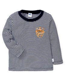 Teddy Full Sleeves Teddy Jeans Print Stripes T-Shirt - Black