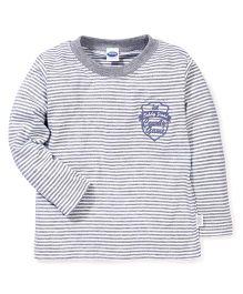 Teddy Full Sleeves Teddy Jeans Print Stripes T-Shirt - Grey