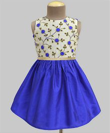 A.T.U.N Blossom Embroidered Dress - Cream & Blue