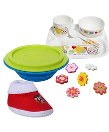 Combo pack of Fancy Button,Booties,Container & Tableware Set (Pack of 4)