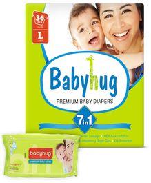 Babyhug - 7 in 1 Premium Baby Diapers Large, 9 - 14 Kgs, 36 pieces with Babyhug Premium Baby Wipes - 80 Pieces (Pack of 2)