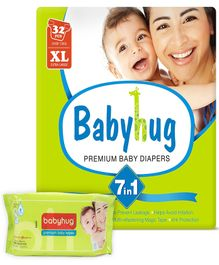 Babyhug - 7 in 1 Premium Baby Diapers Extra Large, 12 Kg and above, 32 Pieces with Babyhug Premium Baby Wipes - 80 Pieces (Pack of 2)