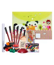 Natraj School Kit(Scale,Sharpener,Eraser,Ball Pen) with Pencil,Folder Bag,Coloring Set & Pen Stand(Pack of 8)