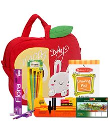 Happy Day kids bag with Mathematical Instruments,Pencil Set,Brush Set,Drawing Pad & Color Tube