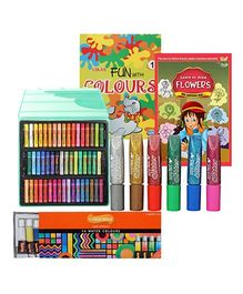 Drawing & Coloring Books with Oil Pastels, Color Tubes & Glitter Colors
