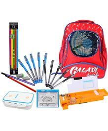School Bag with Lunch Box,Pencil Box,Pen Set,Pencil Set & Mathematical Set