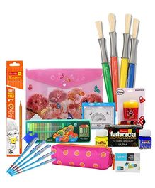 Coloring cum School Kit Combo(Oil Pastels,Pencil,Eraser,Sharpener,Folder File,Mathematical Set,Pen,Brush,Brush Case)