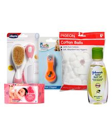Baby Skin Care Combo(comb,nail clipper,wipes,hair oil & cotton balls)