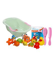 Baby Bath tub with Bath Toys,Nappy pins & Hair Brush & Comb