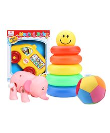 Karma Musical Toy, Little Junior Ring with Baby Ball & Wild Republic Elephant