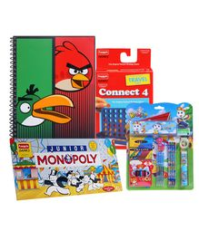 Funskool Monopoly with Fab N Funky Stationary Set,Funskool Connect 4 & Angry Birds Spiral Notebook