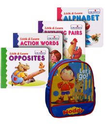 Noddy School Bag with Creatives Look & Learn Book Combo