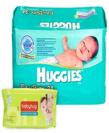 Huggies - New Born,Upto 4 Kg, 24 Pieces with Babyhug Premium Baby Wipes - 80 Pieces (Set of 2)