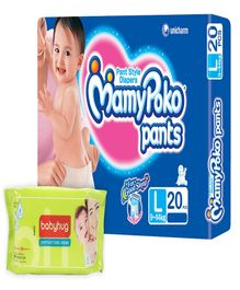 Mamy Poko Pants Pant Style Diapers Large - 20 Pieces with Babyhug Premium Baby Wipes - 80 Pieces - Pack of 2