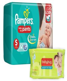 Pampers Pant Diapers Light And Dry Small - 9 Pieces with Babyhug Premium Baby Wipes - 80 Pieces - Pack of 2