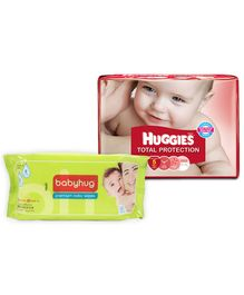 Huggies Total Protection Diapers Medium - 19 Pieces with  Babyhug Premium Baby Wipes - 80 Pieces - Pack of 2