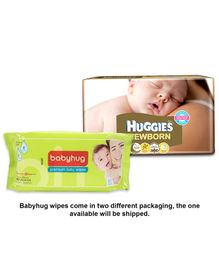 Huggies Diapers New Born - 24 Pieces with Babyhug Premium Baby Wipes - 80 Pieces - Pack of 2