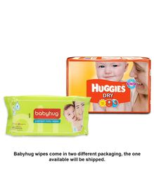 Huggies Dry Diapers Small - 30 Pieces with Babyhug Premium Baby Wipes - 80 Pieces (Pack of 2)
