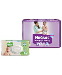Huggies Wonder Pants Medium - 44 Pieces with Huggies Thick Baby Wipes Imported - 80 Pieces - Pack of 2