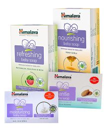 Himalaya Baby Soap Oils Of Olive & Almond 125gm AND Himalaya - Nourishing Baby Soap 75gm +Himalaya Refreshing Baby Soap 75gm +Himalaya Herbal Extra Moisturizing Baby Soap 75gm . Pack of 4