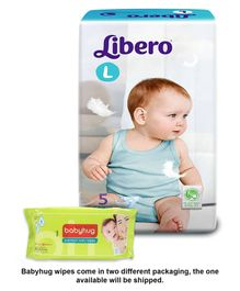 Libero Baby Diaper Large - 5 Pieces and Babyhug Premium Baby Wipes - 80 Pieces (Pack of 2)