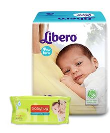 Libero Baby Diaper New Born - 10 Pieces and Babyhug Premium Baby Wipes - 80 Pieces - Pack of 2