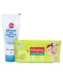 Johnsons baby Diaper Rash Cream - 40 gram and Babyhug Premium Baby Wipes - 80 Pieces - Pack of 2