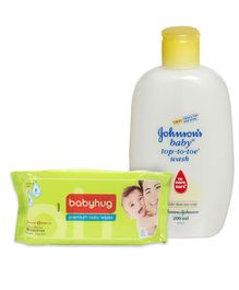 Johnson's baby Top to Toe Wash - 200 ml and Babyhug Premium Baby Wipes - 80 Pieces - Pack of 2