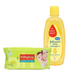 Johnson's baby Shampoo - 200 ml and Babyhug Premium Baby Wipes - 80 Pieces(Pack of 2)