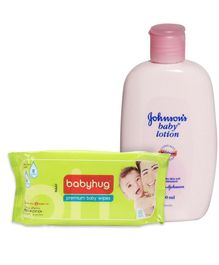 Johnson's baby Lotion - 200 ml and Babyhug Premium Baby Wipes - 80 Pieces(Pack of 2)