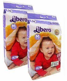 Libero Open Diapers Medium - 40 Pieces Pack Of 2