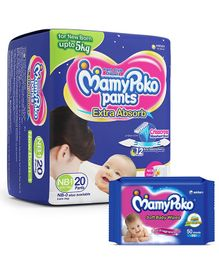 Mamy Poko Pant Style Diaper Extra Small - 20 Pieces & Mamy Poko Soft Baby Wipes - 50 Pieces