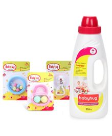 Babyhug Joy Rattle - White And Pink - 1 Qty And  Babyhug Liquid Multi Purpose Cleanser - 550 ml - 1 Qty And Babyhug Ball Rattle - Pink - 1 Qty And Babyhug Beads Rattle - Blue - 1 Qty