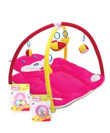 Babyhug Ball Rattle - Pink- 1 Qty And Babyhug Beads Rattle - Pink- 1 Qty And Babyhug Twist N Fold Move N Play Activity Gym Bunny - Pink- 1 Qty