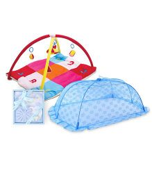 Babyhug Twist N Fold Move N Play Activity Gym ABC 123 - Multicolor- 1 Qty And Babyhug Clothing Gift Set Animal Print Pack Of 4 - Blue- 1 Qty And Babyhug Mosquito Net Floral Design Blue - Large- 1 Qty