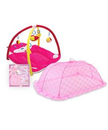 Babyhug Twist N Fold Move N Play Activity Gym Bunny - Pink- 1 Qty And Babyhug Clothing Gift Set Animal Print Pack Of 4 - Pink- 1 Qty And Babyhug Mosquito Net Floral Design Pink - Large- 1 Qty