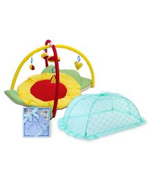 Babyhug Twist N Fold Move N Play Activity Gym Sunflower - Multicolor-1 Qty And Babyhug Clothing Gift Set Animal Print Pack Of 4 - Blue- 1 Qty And Babyhug Mosquito Net Floral Design Green- Large- 1 Qty