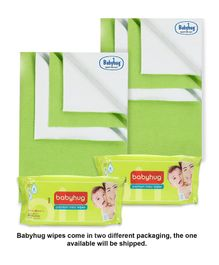 Babyhug Smart Dry Bed Protecting Sheet Green - Small Pack Of 2 & Babyhug Premium Baby Wipes - 80 Pieces Pack Of 2