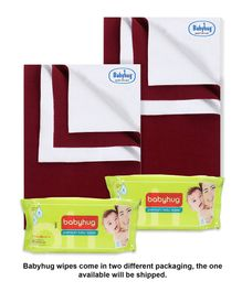 Babyhug Smart Dry Bed Protecting Sheet Maroon - Small Pack Of 2 & Babyhug Premium Baby Wipes - 80 Pieces Pack Of 2