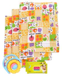 Babyhug Premium Baby Wipes - 80 Pieces- 2 Qty and Babyhug Multi Purpose Baby Mat Apple Rabbit Print Set Of 4 - Pink- 1 Qty Babyhug Flip Flower Rattle - Yellow And Blue- 1 Qty