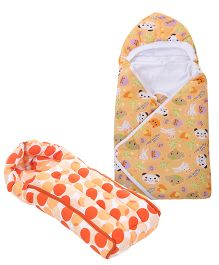 Babyhug Sleeping Bag Polka Dots - Peach- 1 Qty And Babyhug Hooded Baby Wrapper Animal Print - Light Orange- 1 Qty