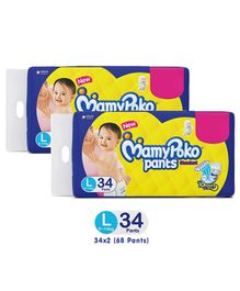 Mamy Poko Pants Standard Pant Style Diapers Large - 34 Pieces-Pack Of 2